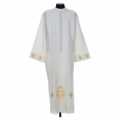 Ivory alb in polyester, cross on sleeves and wheat embroideries s1
