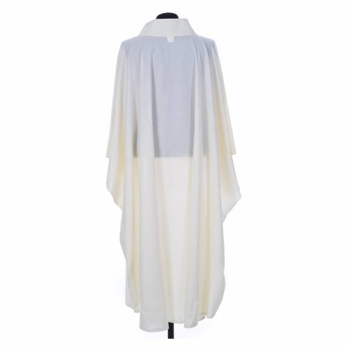Ivory chasuble alb in polyester and wool s2