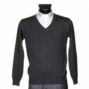 Cárdigan: Jersey con cuello V gris oscuro