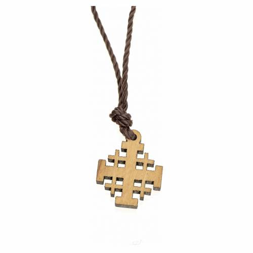 Jerusalem cross pendant in olive wood, Holy Land s2