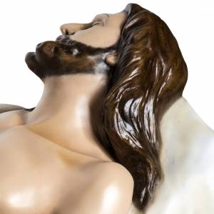Jésus mort 140 cm fibre de verre colorée s12