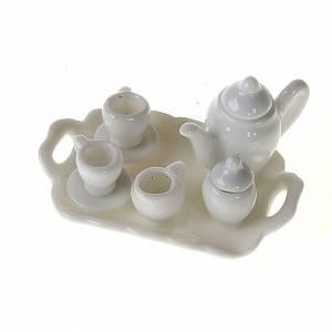 Hauszubehör für Krippe: Kaffee-Bedienung aus weissen Porzellan Krippe