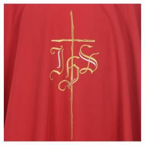 Kasel IHS und Kreuz aus Polyester s5