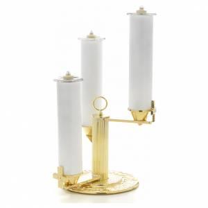 Armleuchter: Kerzenhalter mit 3 Flammen aus vergoldeter Bronze