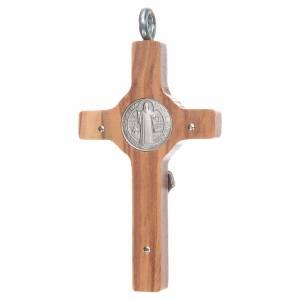 Benedikt Kreuze und Medaillen: Kreuz Sankt Benedikt Silber Olivenholz und Schnur, 8x4 cm