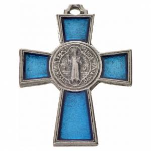 Benedikt Kreuze und Medaillen: Kreuz Sankt Benedikt Zamak-Legierung und blaues Email 4x3 cm