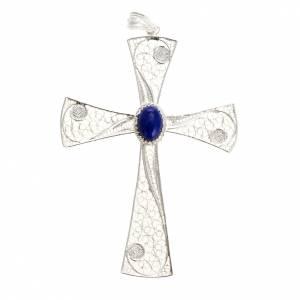Anhänger, Kreuze, Broschen: Kreuzanhänger aus 800 Silber mit Lapislazuli