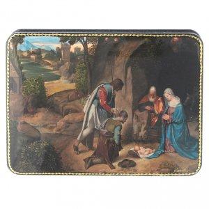 Lacca russa cartapesta Adorazione dei Pastori Natività Fedoskino style 15x11 s1