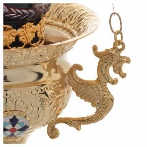Lampada per Santissimo Ortodossa in ottone cm 15x15 s3