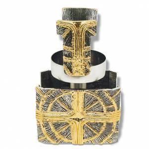 Lampe d'autel, bronze doré argent et croix s1