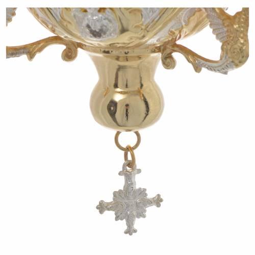 Lampe Très-Saint-Sacrement orthodoxe dorée 15x15 cm s4