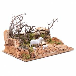 Settings, houses, workshops, wells: Landscape with sheep setting 10x20x15 cm