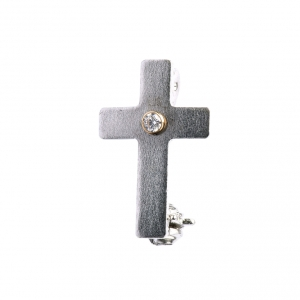 Lapel pin classic priest cross in 800 silver with zircon s3