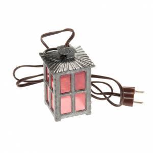Lichter und Laterne für Krippe: Laterne aus Metall rotes Licht h 4 cm