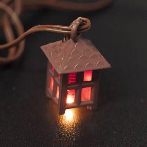 Lichter und Laterne für Krippe: Laterne aus Plastik rotes Licht h 2.5 cm
