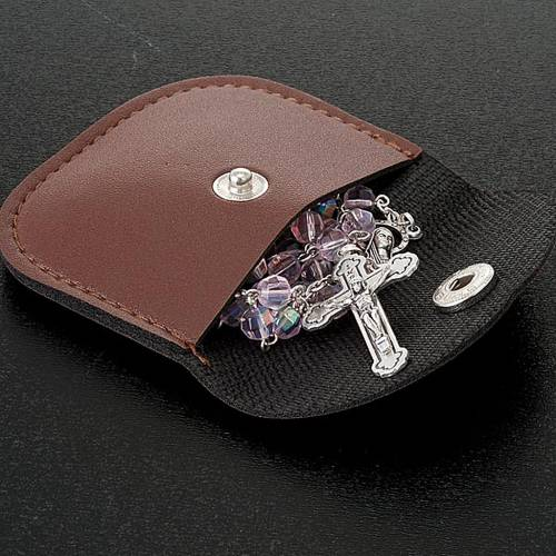 Leatherette golden cross rosary case s2