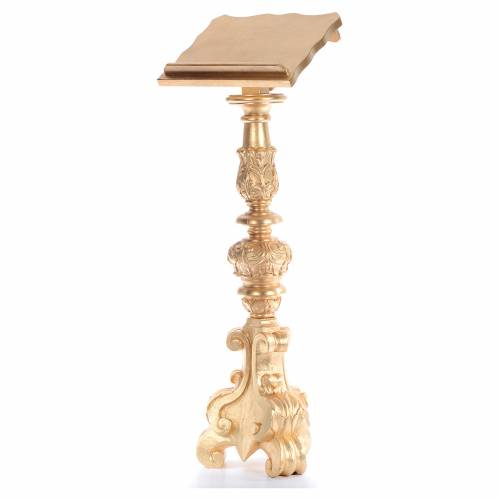 Lectern in carved wood, baroque chandelier style, gold leaf 120c s2