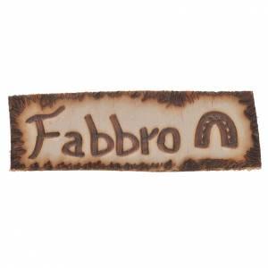 Letrero herrero, madera para belén 2,5x9cm s1