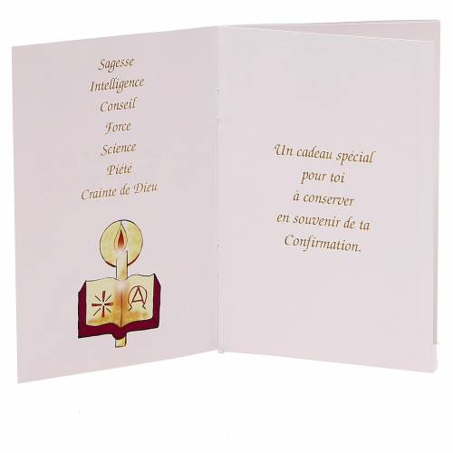 STOCK Libretto ricordo Cresima FRANCESE con rosario rosa s2