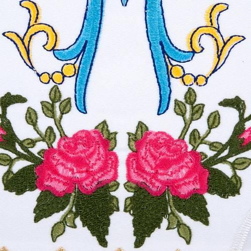 Linge d'autel 4 pcs symbole Marial  et roses s3