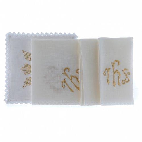 Linge d'autel lin broderie dorée formes géométriques symbole IHS s2