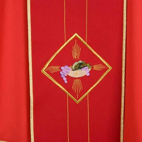 Liturgical chasuble in 100% wool, Eucharistic symbols s4