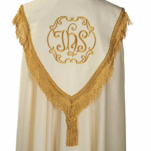Liturgical cope with gold IHS symbol and roses embroideries s5