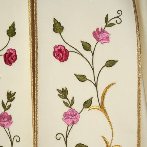 Liturgical cope with IHS symbol and roses embroideries s2