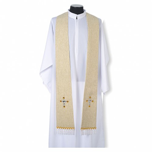 Liturgical stole in lurex, cross with glass stones s4
