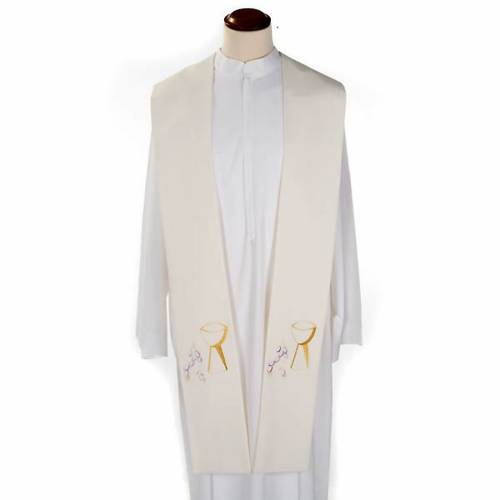 Liturgical stole with chalice and grapes embroidery s4