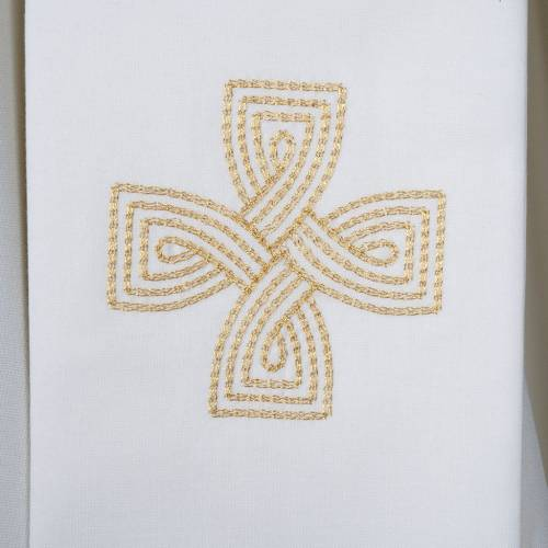 Liturgical stole with golden cross and interlaced embroidery s2