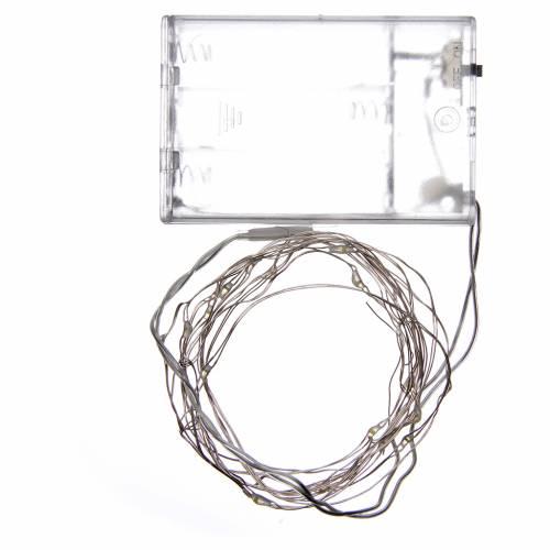 Luces de Navidad 20 LED tipo gota color blanco frío con baterías s3
