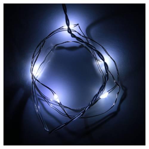 Luces de Navidad 5 LED tipo gota color blanco frío con baterías s2