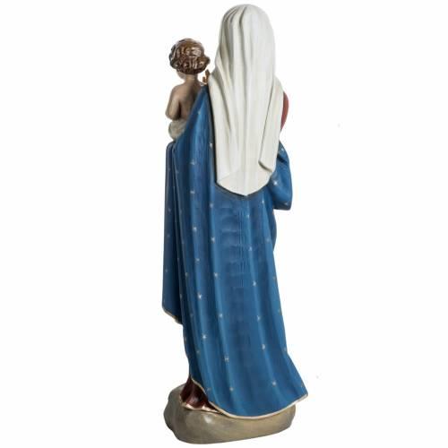 Madonna con bimbo veste rossa blu 60 cm polvere di marmo s7