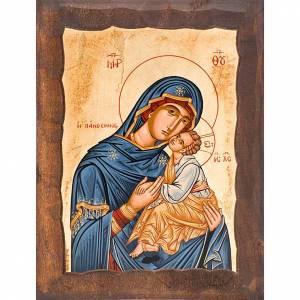 Íconos Pintados Grecia: Madre de Dios Eleousa manto azul