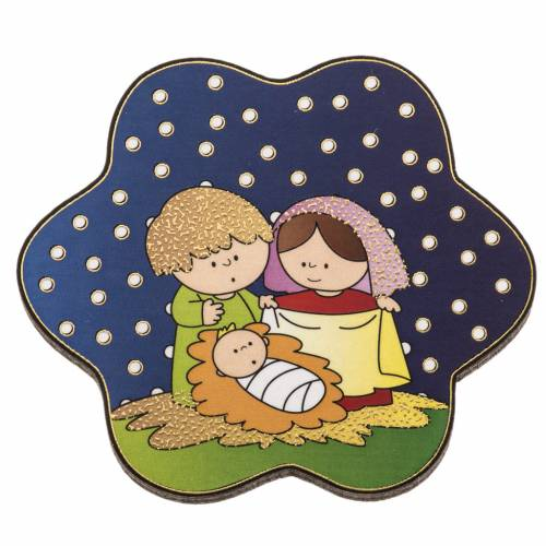 Magnet in wood with Nativity and starry sky s1