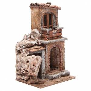 Maison avec cabane rustique crèche 30x25x15 cm s3
