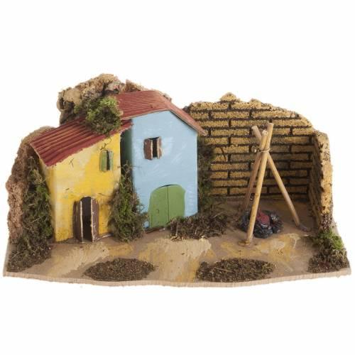 Maison décor crèche en bois avec feu s1