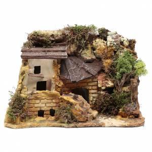 Maisons, milieux, ateliers, puits: Maison en plâtre avec remise bois 20x25x15 cm