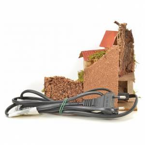 Maison et feu de bois effet flammes crèche 15x10x12 cm s4