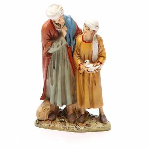 Nativity Scene figurines: Man and child with dove in painted resin 12cm Martino Landi Collection