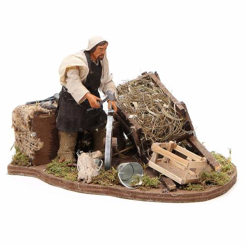 Man fixing wheel with cart, animated Neapolitan Nativity figurine 12cm s3