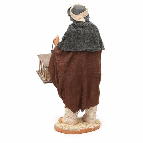 Man with cages and birds, Neapolitan nativity figurine 30cm s3