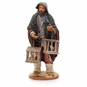 Man with cages and birds, Neapolitan nativity figurine 30cm s1