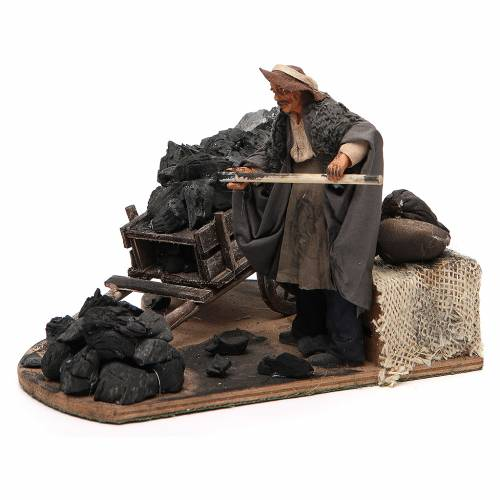 Man with coal cart, animated Neapolitan Nativity figurine 14cm s2
