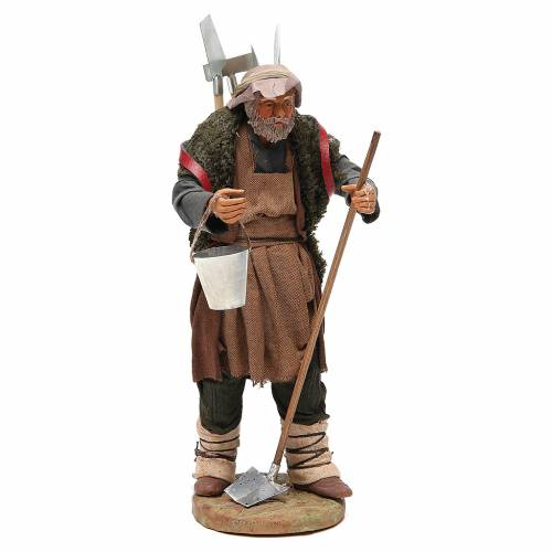 Man with farming tools, Neapolitan nativity figurine 24cm s1