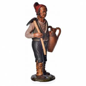 Man with hoe and amphora, 18cm terracotta, Deruta s2