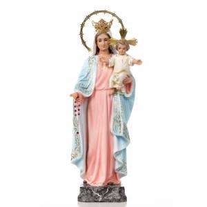 Statuen aus gemalten Holz: Maria vom Rosenkranz 40cm Holzmasse fein Finish