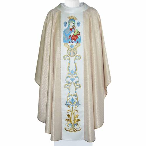 Marian Chasuble in wool and lurex, with double twisted yarn s1