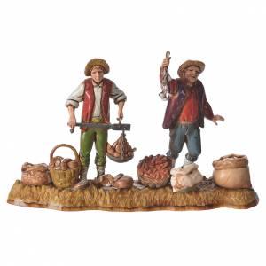 Market scene, nativity figurine, 10cm Moranduzzo, 2 pcs s2